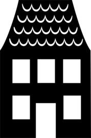 herbruikbare raamsticker huisje E