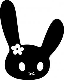 strijkapplicatie konijntje snoet bloem