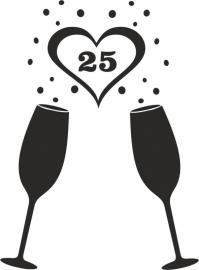 strijkapplicatie Champagne glazen cijfer