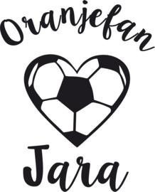 Strijkapplicatie EK  naam 'Oranjefan' hart