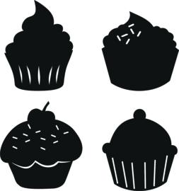 Statische stickers keukentje cupcakes