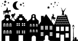 herbruikbare raamsticker huisjes sint (& kerst complete set)