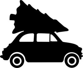 strijkapplicatie autootje met kerstboom