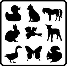 Glasmarkers dieren -9 stuks-