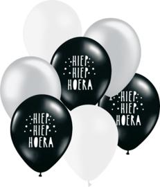 7 ballonen mix 'Hoera' zwart/ zilver/ wit