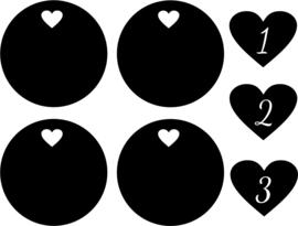 stickers knopjes keukentje hart