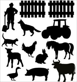 Statische raamsticker boerderij (herbruikbaar)
