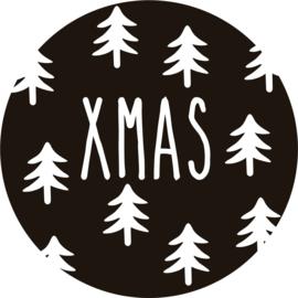 strijkapplicatie cirkel kerstboompjes xmas
