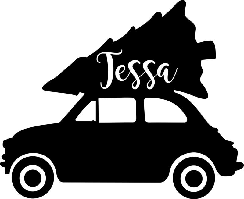 strijkapplicatie autootje met kerstboom naam sierlijk