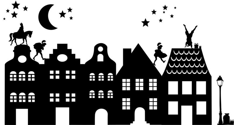 herbruikbare raamsticker huisjes sint (& kerst complete set)  -extra groot
