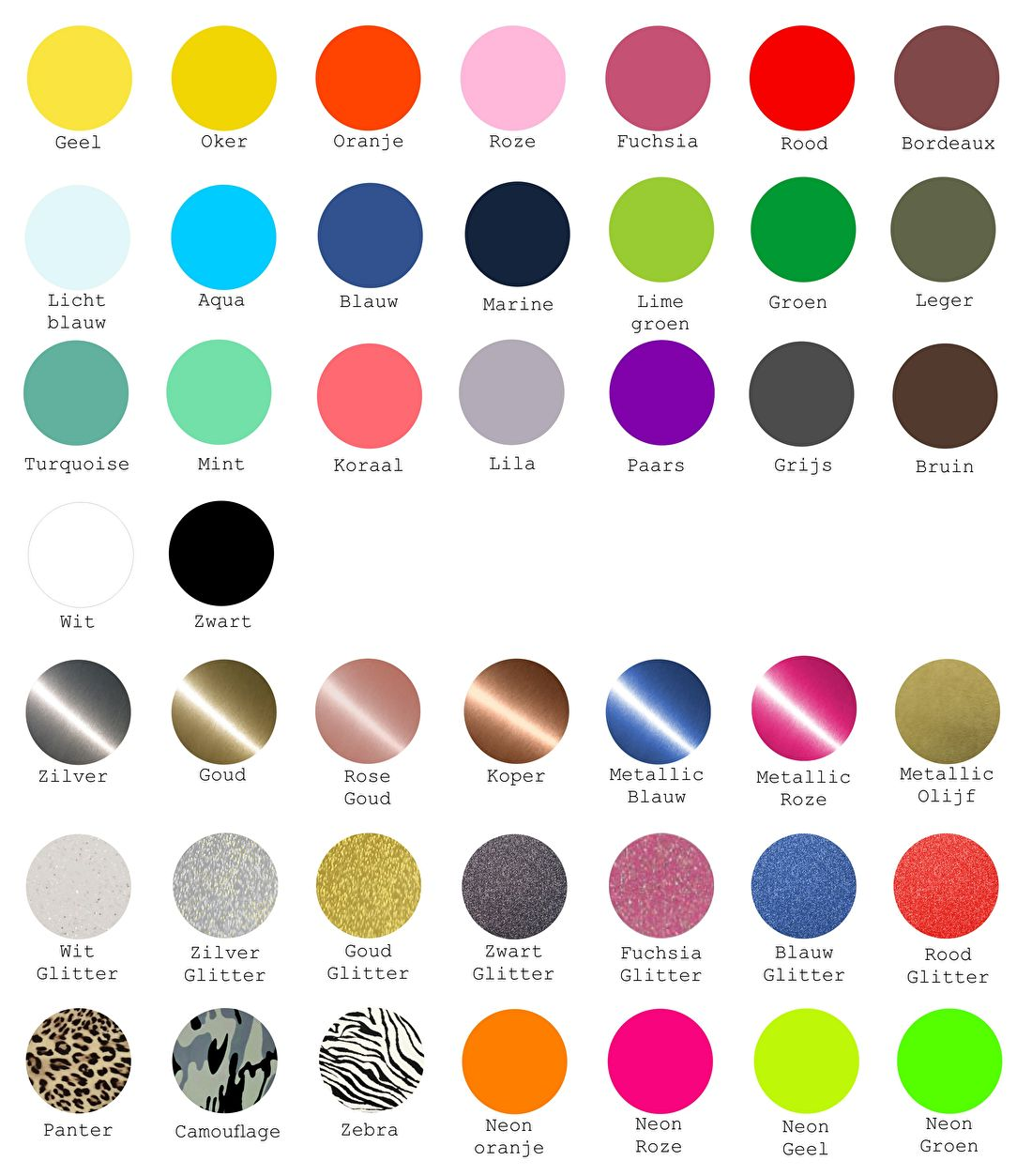 strijkapplicaties kleuren