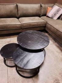 Set van 3  zwarte mango houten salontafels 20mm dik blad