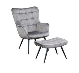 fauteuil Olle grijs velvet met hocker
