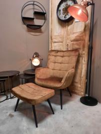 fauteuil Olle bruin velvet met hocker