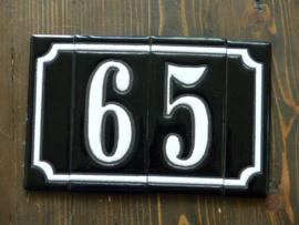 Handgeglazuurde huisnummers (Keramiek) 2 Cijfers plus zijkanten