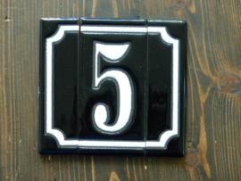 Handgeglazuurde huisnummers (Keramiek) 1 Cijfer plus zijkanten