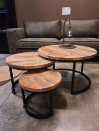 AANBIEDING set van 3 mango houten salontafels 3cm dik blad
