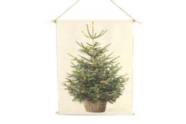 Kerstboom op canvas met led-lichtjes s