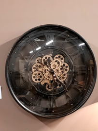 Industriële raderklok  / tandwielklok / radarklok Ronja black