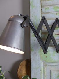 Industriële schaarlamp uittreklamp zink/zwart klein