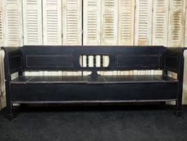 Nieuw klepbank 220cm 3-spijl recht met armleuning Old Black