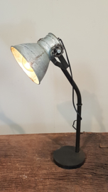Industriële tafellamp zwart zinkkleurige kap