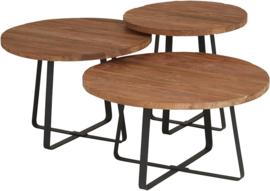 Set van 3 industrial teak salontafels ø50/ø60cm/ø70cm