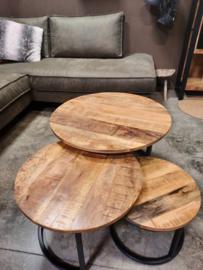 Set van 3   mango houten salontafels 20mm dik blad