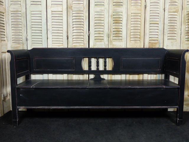 """Nieuw klepbank 200cm 3-spijl recht met armleuning """"Old Black"""""""