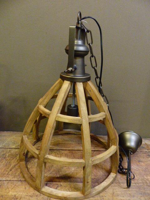open houten hanglamp