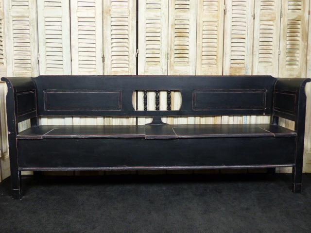 """Nieuw klepbank 240cm 3-spijl recht met armleuning """"Old Black"""""""