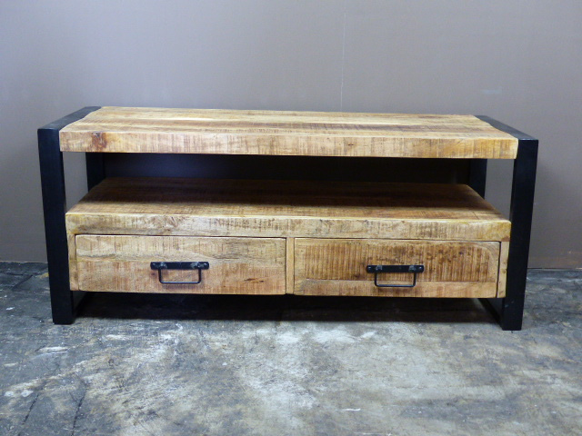 Breed Houten Tv Meubel.Tv Kast Mango 120cm Breed Mango Acacia Old Wood Collectie Les