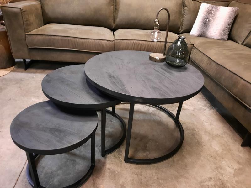 AANBIEDING set van 3  zwarte mango houten salontafels 25mm dik blad