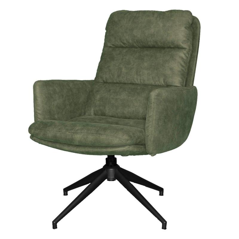 Comfortabele draaifauteuil met armleuning Kate olijf