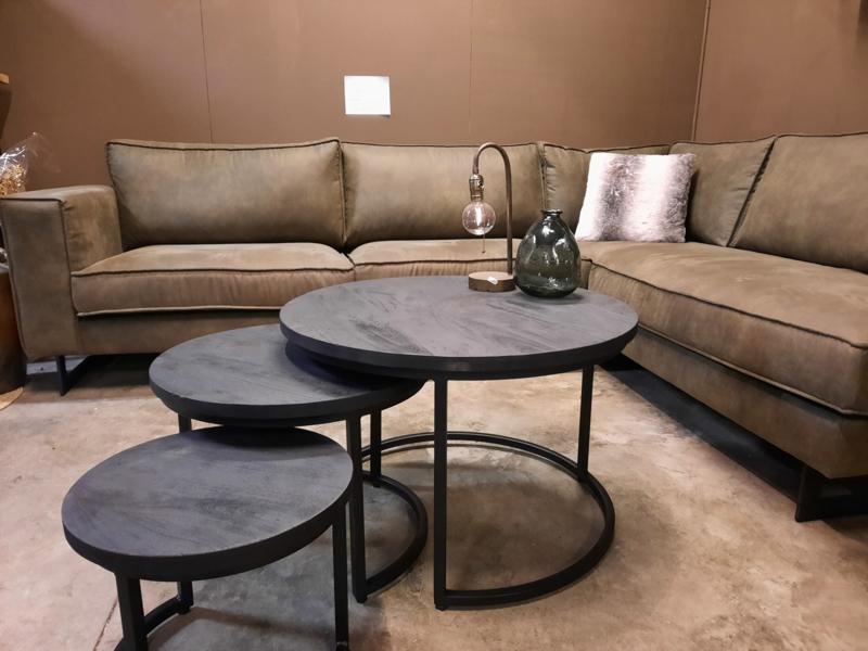 SALE!! Set van 3  zwarte mango houten salontafels 25mm dik blad
