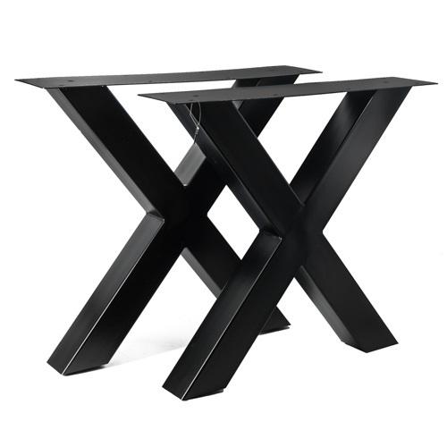 set van 2 zwarte metalen x poten voor eetkamertafel