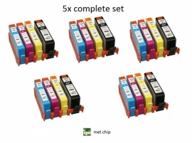 5x set Hp 364xl met chip huismerk