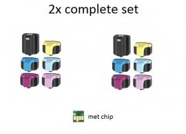 2x Hp 363 set huismerk met chip