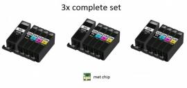 3x Set Canon Pgi-525 en Cli-526 serie met chip huismerk