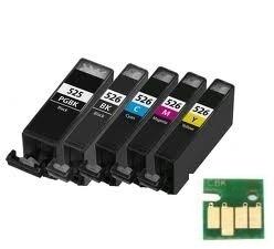 Set Canon Pgi-525 en Cli-526 serie met chip huismerk