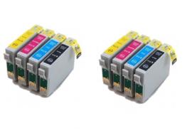 Geschikt Epson T0711 tot T0714 met chip 2x Set  van inktpatronenexpress