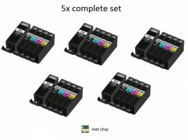 5x Set Canon Pgi-525 en Cli-526 serie met chip huismerk