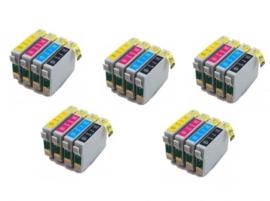Geschikt Epson T0711 tot T0714 met chip 5x Set  van inktpatronenexpress