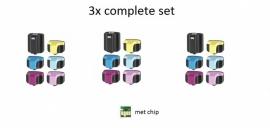 3x Hp 363 set huismerk met chip