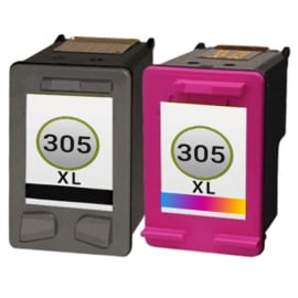Set Geschikt HP 305XL (3YM62AE) zwart HP 305XL (3YM63AE) kleur hoge inhoud van Inktpatronenexpress