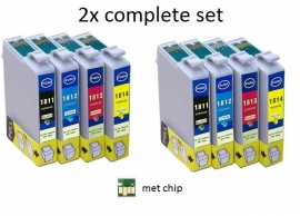 2x Set Epson T1811 tot T1814 XL serie huismerk met chip