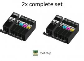 2x Set Canon Pgi-525 en Cli-526 serie met chip huismerk