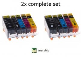 2x Set Canon Pgi-520 en Cli-521 serie met chip huismerk
