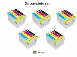 5x Set Epson T1281 tot T1284 huismerk met chip