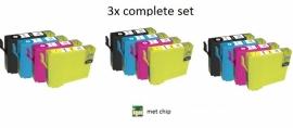 3x Set Epson T1291 tot T1294 huismerk met chip